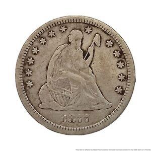 1877 CC Seated Liberty Quarter Dollar Silver Coin