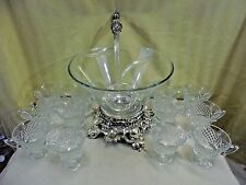 Vintage Colony Lancaster Pitman-Dreitzer Silverplate & Crystal Punch Bowl Set