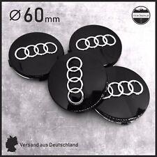 Nabendeckel AUDI 60mm Schwarz Nabenkappen Radkappen Felgendeckel Auto Emblem 4x