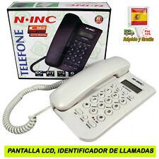TELEFONO FIJO CON PANTALLA LCD IDENTIFICADOR DE LLAMADAS MEMORIA ALARMA BLANCO