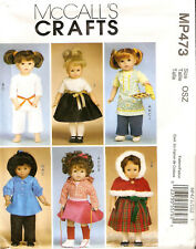 """McCall's Craft Pattern M6006 MP473 18"""" Doll Clothes 6 Outfits Karate Winter Cape"""