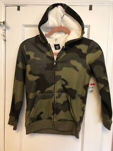 "Route 66 Boys Fleece Lined Hooded Jacket Medium ( 8 ) "" Green Camo "" NWT"