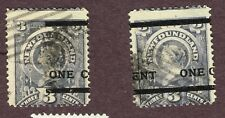 NEWFOUNDLAND PROVISIONAL OVERPRINT VARIETY 76 FINE SEPARATED PAIR  (MOR21,2