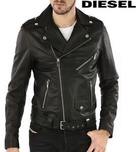 Diesel Men's Leather Jacket R-Lumenirok Black Biker Jacket Brand New, All Sizes