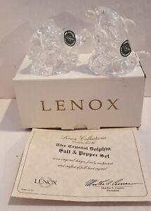 Lenox Crystal Dolphin Salt & Pepper Shakers BRAND NEW