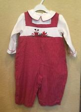 New Unisex smocked 12M Christmas Romper Petit Ami Red/white Checked Long Sleeved