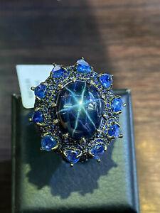 NATURAL STAR SAPPHIRE KYANITE SAPPHIRE DIAMOND CUT STERLING SILVER 925 RING