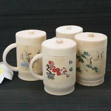 Chinese Traditional Painting Handmade Natural Bamboo Cup Lid Set For Tea Water