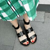 Casual Women Sandals Peep toe Student Summer Beach Flat Shoes Plus size US4-14
