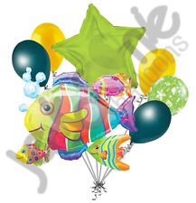 7 pc Tropical Fish Cluster Balloon Bouquet Ocean Sea Happy Birthday Baby Shower