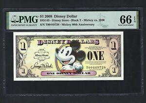 Disney Dollar 1 $  2008 DIS143 Mickey 80th Anniversary Block T Uncirculated