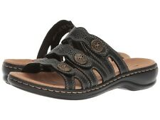 42ae5ab784b Clarks LEISA GRACE Womens Black Leather 34177 Slide Comfort Sandals