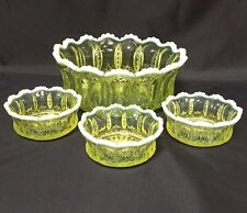 EAPG Jefferson Glass IRIS with MEANDER YELLOW OPALESCENT Large Fruit Bowl Set