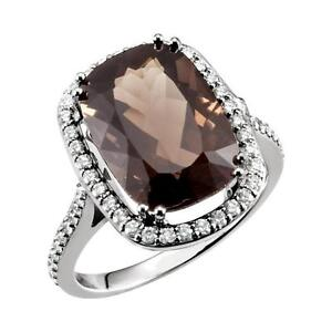 Smoky Quartz and 1/2 CTW Diamond Ring 14K White Gold Size 7