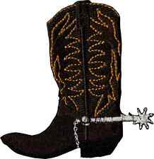 16211 Brown Cowboy Boot with Spur Western Country Rodeo Iron On Patch / Badge