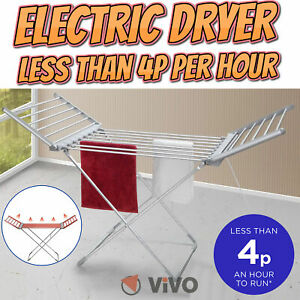 Electric Heated Clothes Airer Dryer Portable Indoor Horse Rack Laundry Folding