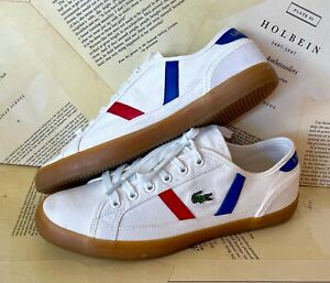 Lacoste Canvas Sneakers White Sideline Ortho Lite Striped Blue Red 8M NEW