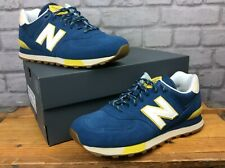 NEW BALANCE 574 MENS UK 9 EU 43 BLUE SULPHUR YELLOW SUEDE TRAINERS RRP £70 AD