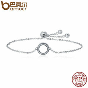 BAMOER Solid S925 Sterling silver Bracelet Chain  Annual ring & CZ Women Jewelry