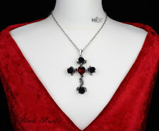 Ladies Gothic Black Cross Rose Necklace using Swarovski crystals by Alchemy