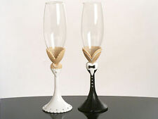 wedding toasting flutes bride groom design glasses set
