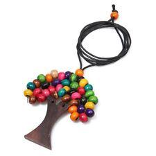 1-PCS Pendant Necklace Handmade Tree Of Life Rainbow Wooden Beads Fashion Ethic