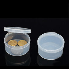 5pcs Round Clear Plastic Storage Box Collection Container Case Part Box HP