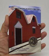 1 SOL 2015 COIN BLISTER RIQUEZA ORGULLO DEL PERU ARQUITECTURA MOQUEGUANA #21 UNC