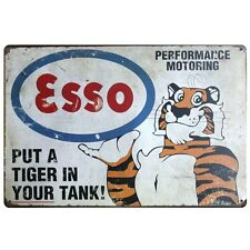 Metal Tin Sign ESSO PUT TIGER YOUR TANK Motor Oil Retro Poster Garage wall 8x12