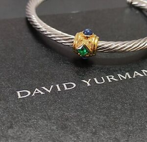 AUTHENTIC David Yurman 5mm Renaissance Bracelet with Gemstone & 14K Yellow Gold