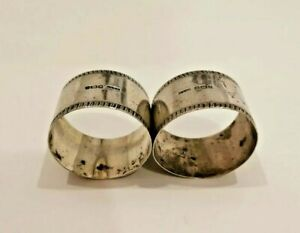 ANTIQUE PAIR SOLID STERLING SILVER NAPKIN RINGS 45g Sheffield 1907 Scrap Job lot