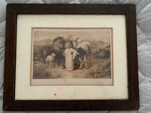 "William Strutt Peace ""A Little Child Shall Lead Them"" 1896 Print/Original Frame"