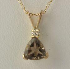 NEW Smoky Quartz Pendant & Chain Necklace Set - 10k Yellow Gold CZ Women's .72ct