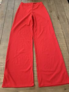 Womens Red Stretchy High Waisted Wide Leg Trousers Size 10