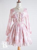 🌹LIZ LISA🌹Rose Bouquet LaceUp Ribbon Dress Pink Hime Lolita Japan F518