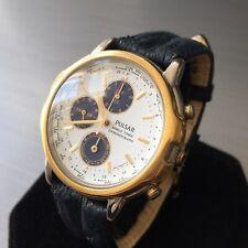 Mens Vintage Retro Pulsar Watch Seiko World Time Alarm N94J-7A10 Leather Genuine