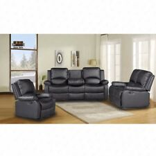 LUXURY LEATHER 3+2+1 SEATER RECLINER SOFAS BLACK BROWN 3 PIECE COUCH SET