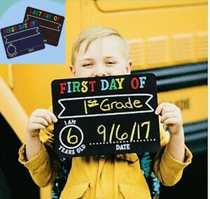 First & Last Day Chalk Signs Reusable Chalkboards 2 Chalkboards Kids Occasions