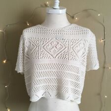 TOPSHOP White Laced Crop Top Size M Women's 36 New With Defect