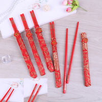 Baguettes de bambou de la chine dragon chinois motifs réutilisables 1 paire OBB