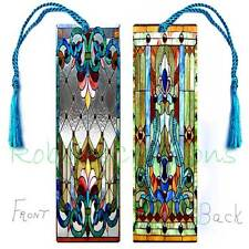 """6"""" ART 'Look of' STAINED GLASS LARGE BOOKMARK w/Tassel Victorian Card Book Mark"""
