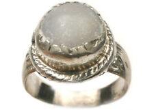 18thC Antique Russian Ukraine Crimean Tatars Silver Ring White Quartz Agate Sz9