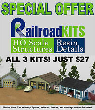 Railroad Kits THREE GARAGES SET - a one car, a two car & a three car laser kit!