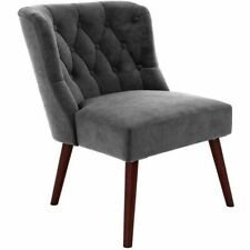 Novogratz Vintage Tufted Accent Chair, Grey Velvet