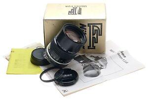 NIKKOR F BOXED SLR CAMERA LENS 135mm f2.8 CAPS FILTER NIKON MINT- 1:2.8 f=135mm