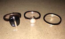 Lola Rose Bassa Black Agate Ring Set  Rose Gold Tone (Plain Ring Is Gold) Medium