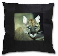 Stunning Big Cat Cougar Black Border Satin Feel Cushion Cover With Pi, AT-17-CSB