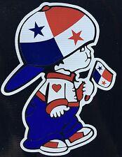 Panama Boy holding Panama National Flag Car Decal Sticker
