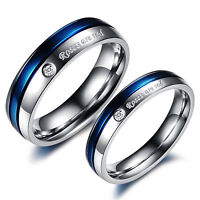 Roses Are Red CZ Silver Blue Gold GP Stainless Steel Ring Size 5 6 7 8 9 10 Gift