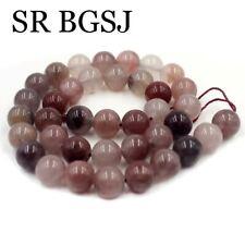 """Jewelry Making Round Purple Berry Quartz Gemstone Beads Strand 15"""" 10mm"""